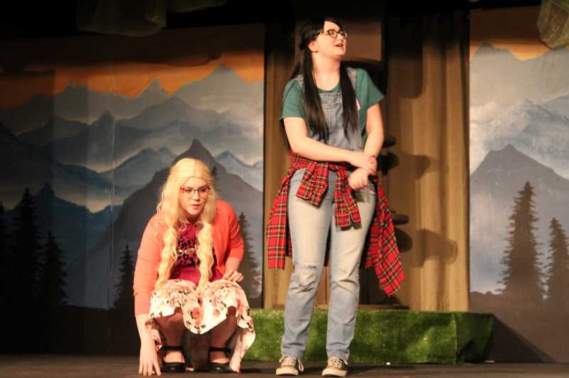 PMG PHOTO: GABBY URENDA - Banks High School Junior Sydnee Denslinger (right) plays Sal in the show 'Walk Two Moons.' The show is apart of the school's revamped drama program.