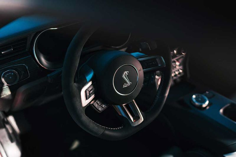 COURTESY FORD MOTOR CO. - Although the steering wheel features the classic Shelby Cobra symbol from the 1960s, practically every advanced automotive technology is also available in the 2020 version of the Mustang GT500.