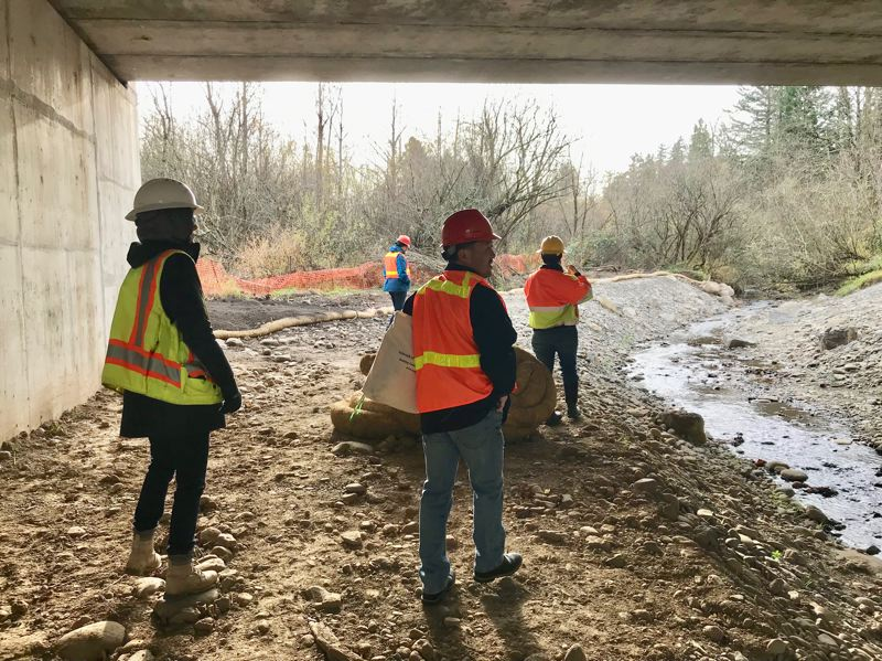COURTESY PHOTO: SANDY RIVER WATERSHED COUNCIL - Roy Iwai, with Multnomah County's Water Quality Program, foreground, and colleagues, walk under the new Cochran Road Bridge.