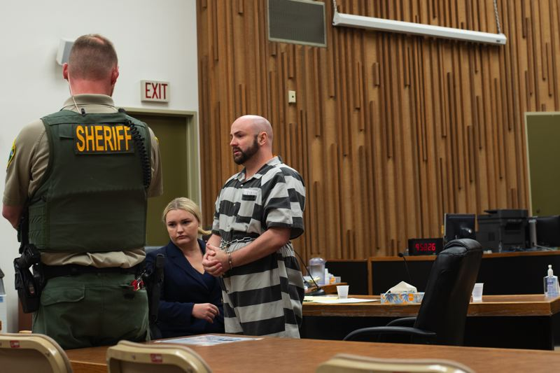 PMG PHOTO: ANNA DEL SAVIO - Richard Flores apologizes to Oregon State Police Sr. Trooper Robin May at his plea hearing on Nov. 14. May told Flores she hoped he would take care of himself and take advantage of the services available to him while incarcerated.
