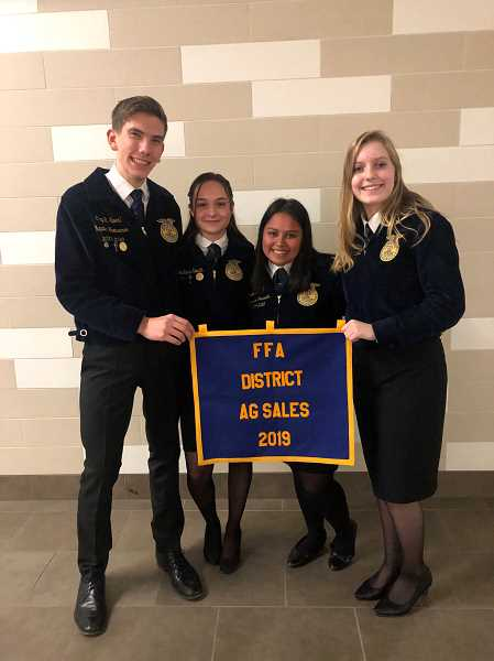 COURTESY PHOTO: MACKENZIE BEHRLE - The advanced Ag Sales team members from Molalla are from left, Clay Sperl, McKenna Salvetti, Emilie Mendoza and Cypress Barrett.