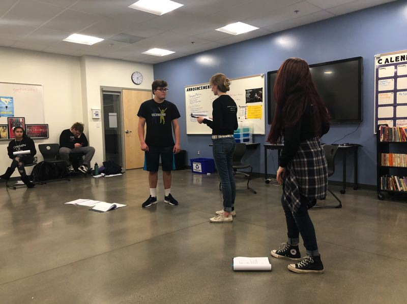 COURTESY PHOTO: JEFFREY SCHROEDER, SAM BARLOW HIGH SCHOOL  - Bryce Coverdale, Abigail Bethke (as Mrs. Norman) and Kellyann Giorgi rehearse their roles for Children of a Lesser God at Sam Barlow.