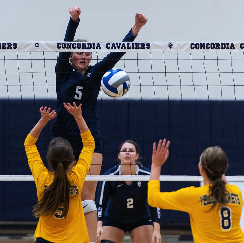 CONCORDIA ATHLETICS: CHRIS OERTELL - Jessica Wheeler puts up a block during a match against Montana-State Billings.