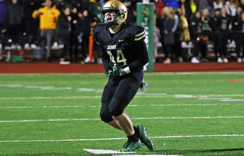 PMGPHOTO: DAN BROOD - Jesuit senior Lucas Christen celebrates during his team's 42-28 home win over Tualatin in the Class 6A state quarterfinals on Friday, Nov. 22.