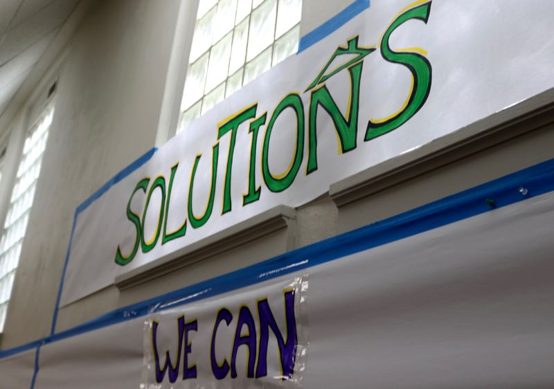 PMG PHOTO: ZANE SPARLING - Participants at a forum on homelessness in downtown Portland were asked to think up solutions.