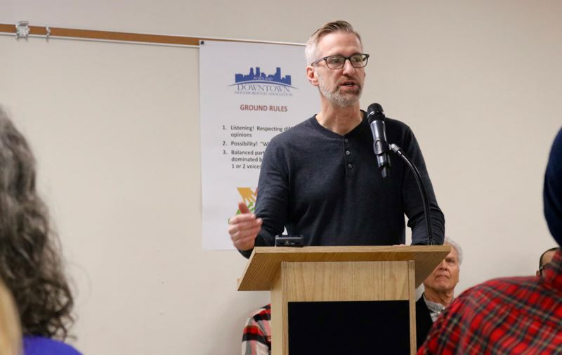 PMG PHOTO: ZANE SPARLING - Portland Mayor Ted Wheeler spoke on the homelessness crisis in downtown Portland on Saturday, Nov. 23.