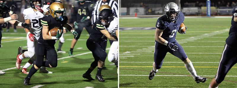 PMG PHOTOS - For a second straight week, Lake Oswego's Class 6A playoff matchup features two of the state's best running backs, this time including Jesuit's Kade Wisher (left) and Lake Oswego's Casey Filkins.
