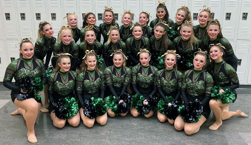 COURTESY PHOTO - The West Linn Debutantes dance team poses together after finishing second in the Large Pom division at West Albany High School on Saturday, Nov. 23.