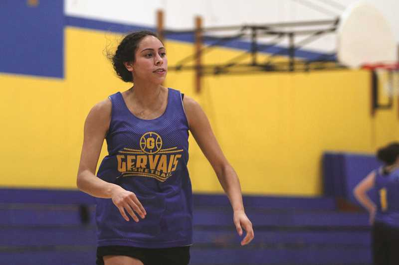PMG PHOTO: PHIL HAWKINS - Gervais wing Isabel Vasquez enters the season as the Cougars lone senior, and the only member of the team who has been a part of the programs 2017 and 2019 state playoff appearances.