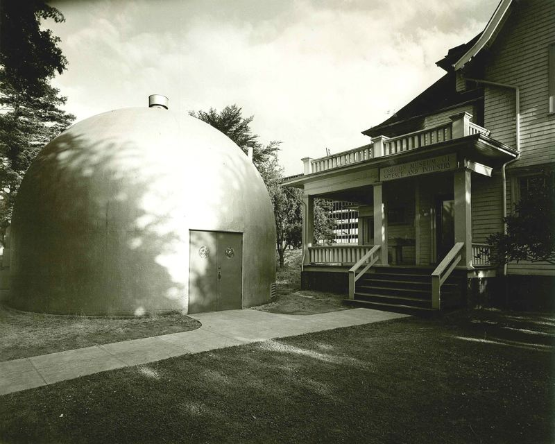 COURTESY: OMSI - OMSI's first location was in a house on Northeast Hassalo Street. Shortly after opening, the museum added a domed building that held the Pacific Northwests first planetarium.