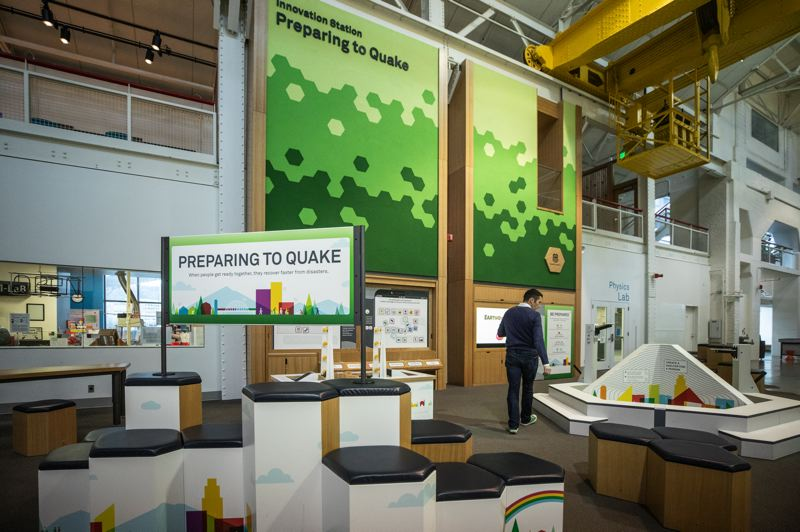 PMG: JONATHAN HOUSE - One of OMSI's new Center for Innovation stations challenges visitors to use science, technology, engineering, art and math to come up with creative solutions to help people after an earthquake.