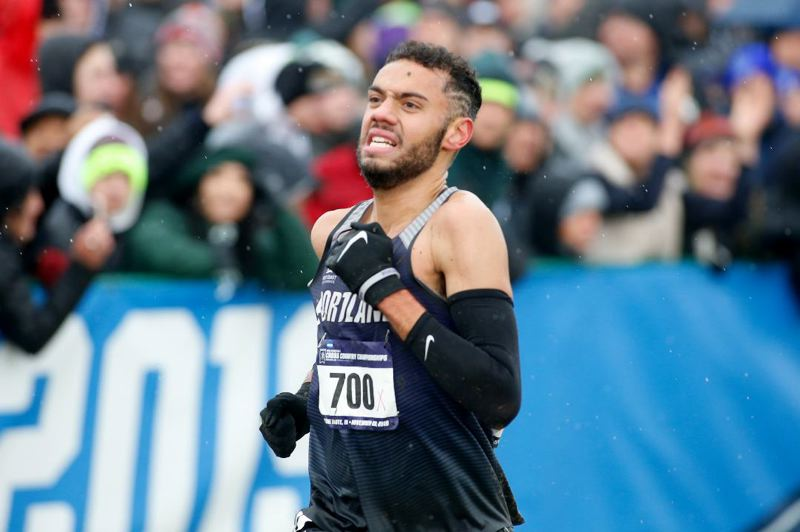 COURTESY PHOTO: UP ATHLETICS/JUSTIN CASTERLINE - Caleb Webb caps his final year of University of Portland cross country as the team's top finisher in the NCAA meet, earning All-American status with a 31st-place showing at Terre Haute, Indiana.