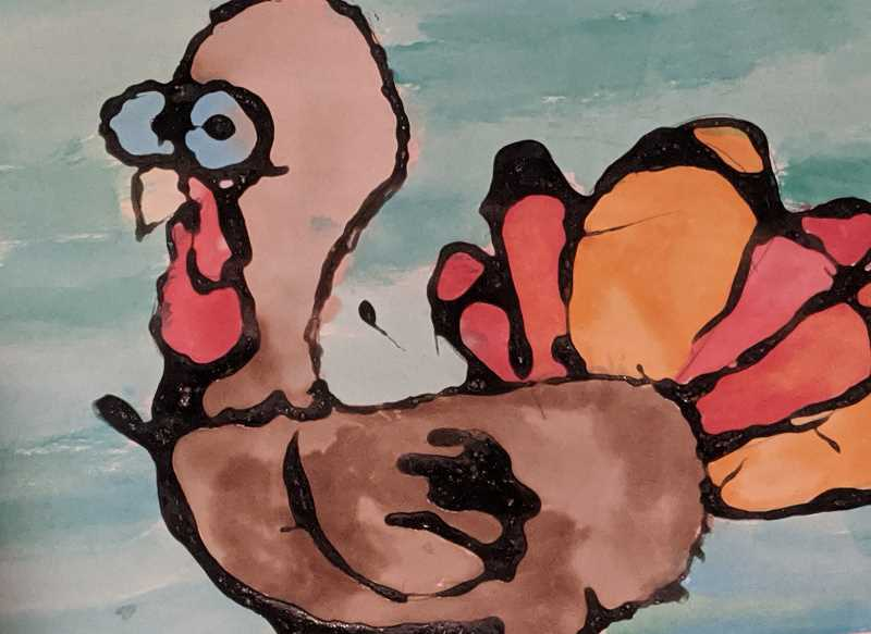 COURTESY PHOTO - A Clackamas River Elementary School student painted this turkey.