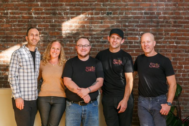 COURTESY PHOTO: ANDREA LONAS PHOTOGRAPHY - The crew at Stone Soup includes (from left) owners Craig and Ronit Gerard, chef trainer Connor Braddock, chef trainer Sean Sullivan and chef instructor Scott Dolich.