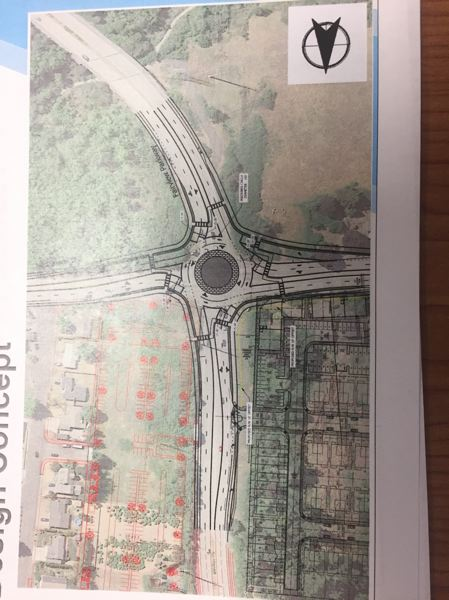 COURTESY PHOTO: KITTLESON & ASSOCIATES ENGINEERING - This drawing provided by Kittleson Engineering depicts the traffic roundabout plan proposed for the intersection of Northeast Halsey Street and Fairview Parkway/207th Street in Fairview.