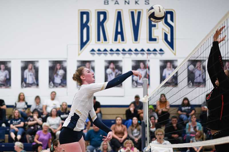 PMG PHOTO: CHRISTOPHER OERTELL - Banks' Kinley Hoag during a Braves match this past season. Hoag was an All-Cowapa League honoree for her performance in 2019.