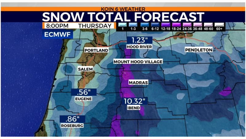 KOIN 6 NEWS - A recent KOIN 6 News weather map predicting coming conditions.