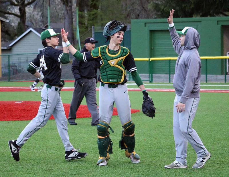 PMG PHOTO: JIM BESEDA - Putnam catcher K.J. Ruffo was named to the Northwest Oregon Conference first team as a junior after he batted .462 with eight doubles, four triples, one homer, and 14 RBIs for the Kingsmen.