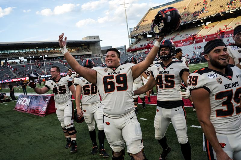 COURTESY PHOTO: KARL MAASDAM/OREGON STATE UNIVERSITY - Nous Keobounnam (69), from Centennial High, emerged this year as the regular center for the Oregon State Beavers.