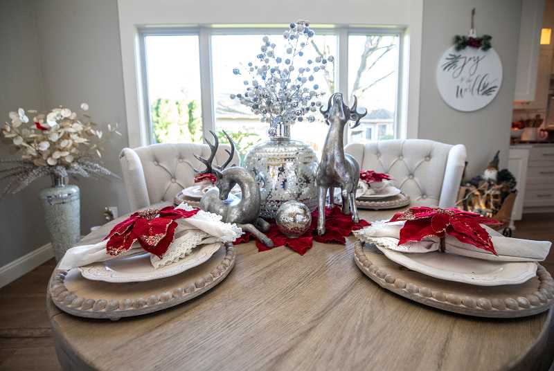 A dining table in the Winter Wonderland home.