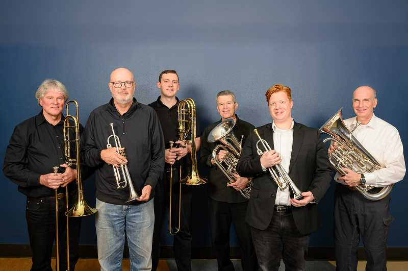 COURTESY PHOTO: HANS OGREN - From left are Ken Peasley, Gerry Kroeger, Ben Wolf, Dan Schlesinger, Ryan Lewis and Jeff Binns, who make up the brass sextet of the Lake Oswego Millennium Concert Band.