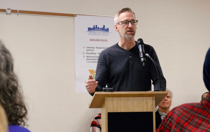 PMG PHOTO: ZANE SPARLING - Portland Mayor Ted Wheeler speaks on the homelessness crisis in downtown Portland on Saturday, Nov. 23.