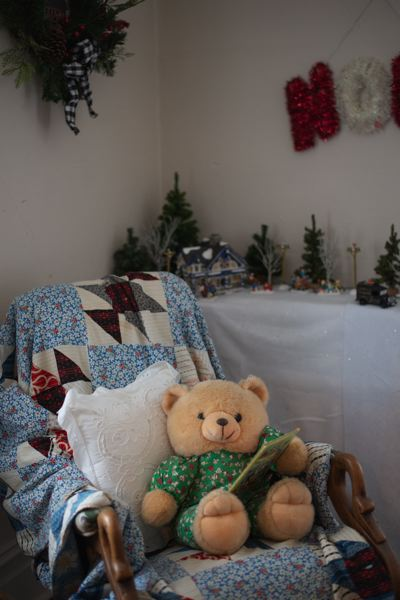 PMG PHOTO: ANNA DEL SAVIO - A teddy bear gets cozy in a rocking chair in the maid's room at the Watts House.