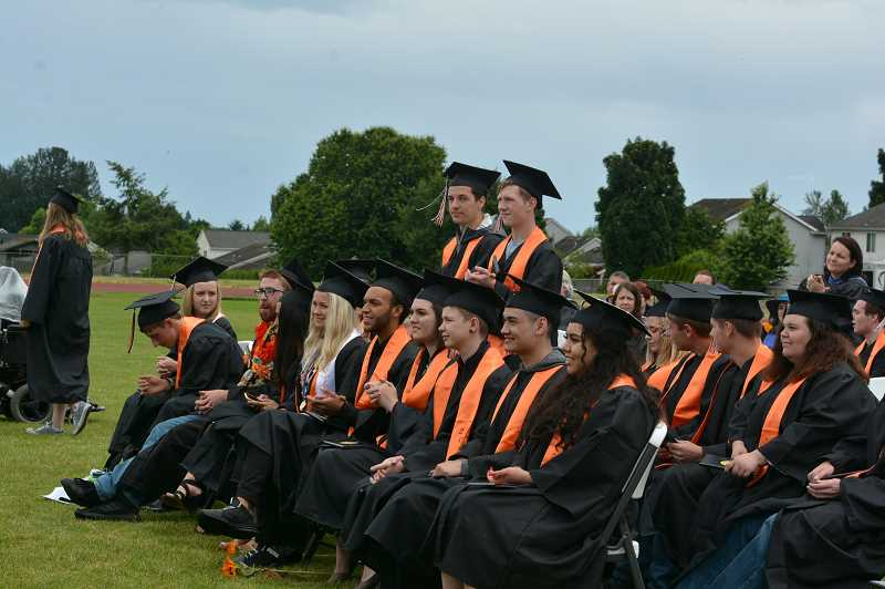 PMG FILE PHOTO - Scappoose High School has one of the highest graduation rates in the state at 94%, as reflected in the recently released state report card on academic progress. This rate this school year declined only slightly from last year's rate of 95%.