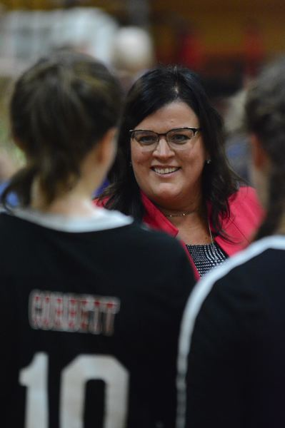 PMG PHOTO: DAVID BALL - Corbetts Angela Davis was voted Coach of the Year after leading the Cardinals to their first Tri-Valley Conference volleyball title.