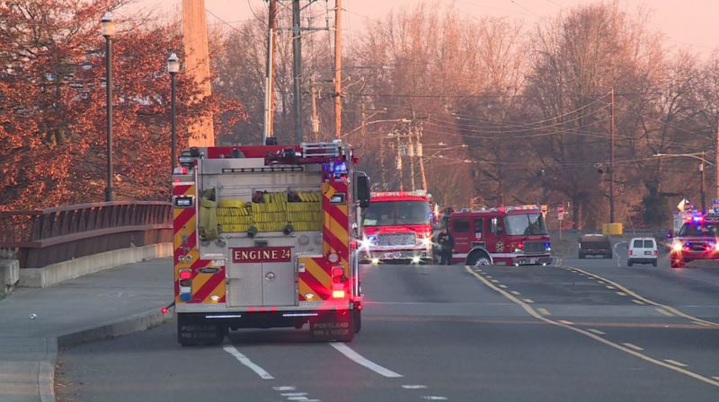KOIN 6 NEWS - Fire crews on the scene of a homeless camp fire in North Portland.