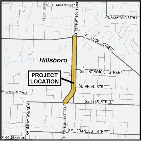 COURTESY OF WASHINGTON COUNTY - A diagram showing the realignment and extension of Southeast Century Boulevard in Hillsboro.