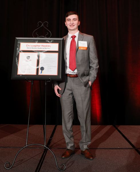 PMG PHOTO: SOOBUM IM - Winner of the student award, Christopher Hockley is a senior finance major whose family owns Consolidated Supply in Portland.