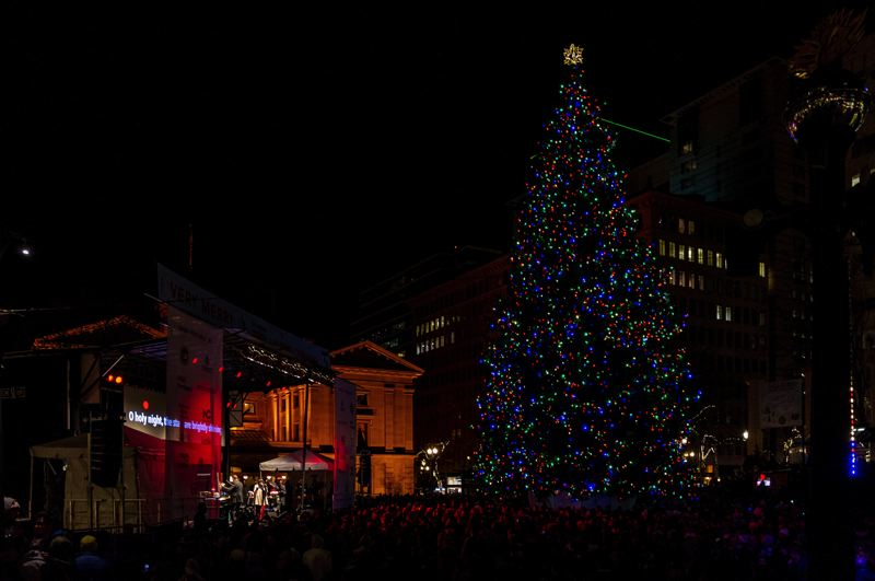 PMG PHOTO: JAIME VALDEZ - Portlanders cheered Friday night, Nov. 29, as about 14,000 colorful lights were switched on during the 35th annual Pioneer Courthouse Square's Christmas tree lighting ceremony.
