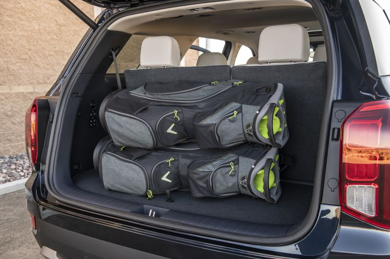 HYUNDAI MOTOR AMERICA - Cargo space in the 2020 Hyundai Palisade is reasonable with the third row folded up, much larger when it is folded down.