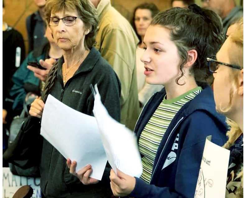 SUBMITTED PHOTO - Chehalem Valley Middle School student Bridget Czarnecki speaks at a recent climate march at Newberg city hall.