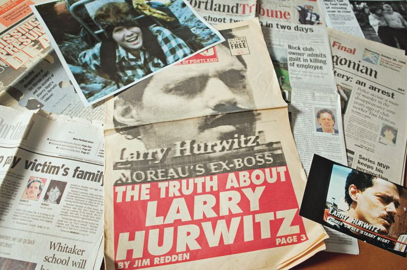 PMG PHOTO: JAIME VALDEZ - Newspaper articles and other records document 30 years of reporting on the 1989 murder of Tim Moreau, pictured at the top shortly after he moved to Portland.