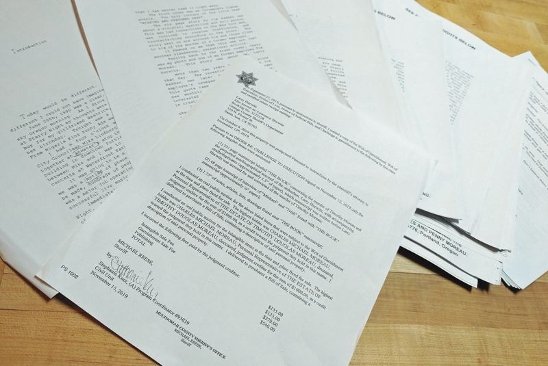 PMG PHOTO - The Multnomah County Sheriff's Office letter confirming the sale of the manuscript below it, which was found in Larry Hurwitz's former apartment.