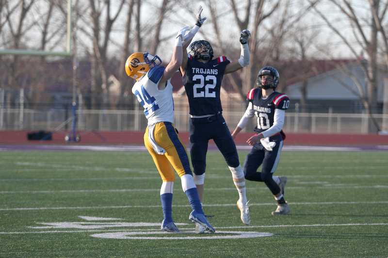 PMG PHOTO: PHIL HAWKINS - Junior Isaiah Basargin led the team with five catches for 59 yards, in addition to an 80-yard interception return to end the first half.