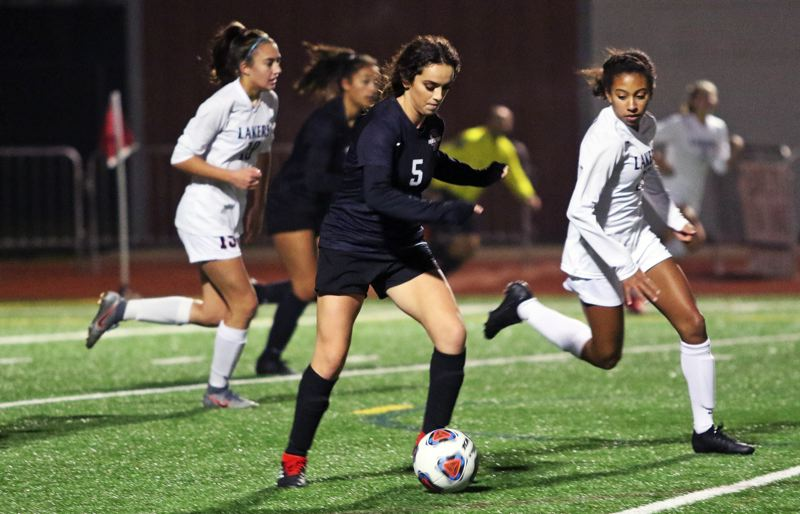 PMG PHOTO: DAN BROOD - Sherwood High School junior midfielder Allison Alvarado (5) was an All-Pacific Conference first-team pick for her play in the 2019 season.