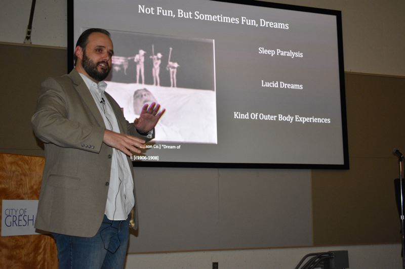 PMG PHOTO: SHANNON O. WELLS - Sculptor and writer Enital van Dalen discussed how lucid dreams, sleep paralysis and out-of-body experiences informed his creativity during an artist talk in Gresham City Council Chambers on Tuesday, Nov. 26.
