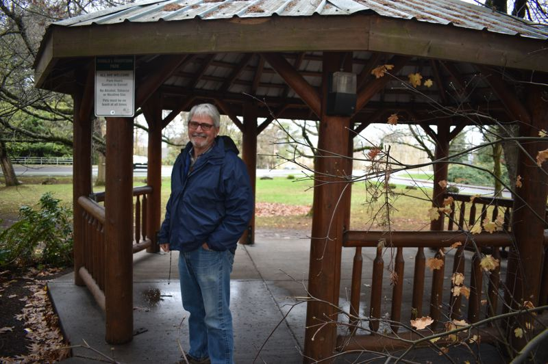 PMG PHOTO: SHANNON O. WELLS - Bill Peterson, who just officially retired as Wood Villages city manager since 2011, reflected on his career during some well-deserved down time at Donald L. Robertson Park on Northeast Halsey Street.