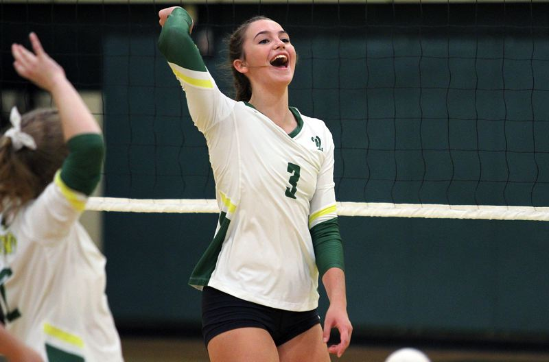 PMG PHOTO: MILES VANCE - West Linn junior outside hitter Audra Wilmes was named to the all-Three Rivers League first team after leading her team to a TRL title and a fifth-place finish at the Class 6A state tournament.
