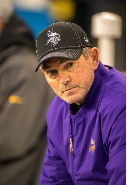MICHAEL WORKMAN PHOTO - Minnesota coach Mike Zimmer observes the action.
