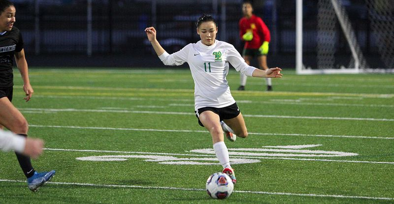 PMG PHOTO: MILES VANCE - West Linn senior defender Maddy Gross was named to the all-Three Rivers League first team after helping the Lions finish second in the 2019 league race and reach the Class 6A state quarterfinals.