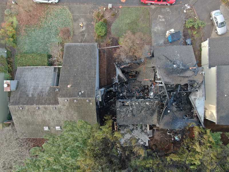 One home was destroyed and another was damaged during a fire Dec. 2.