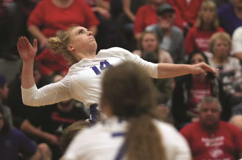 PMG PHOTO: PHIL HAWKINS - St. Paul senior Isabelle Wyss concluded her volleyball career with the Buckaroos, repeating as Casco League Player of the Year while helping to guide the Bucks to a second straight state championship.