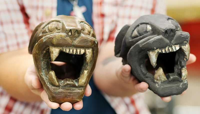 PHOTO COURTESY OF PCC - Hal Shaw, 19, has created a series of panther heads bearing a striking resemblance to PCC's popular mascot, Poppie the Panther.