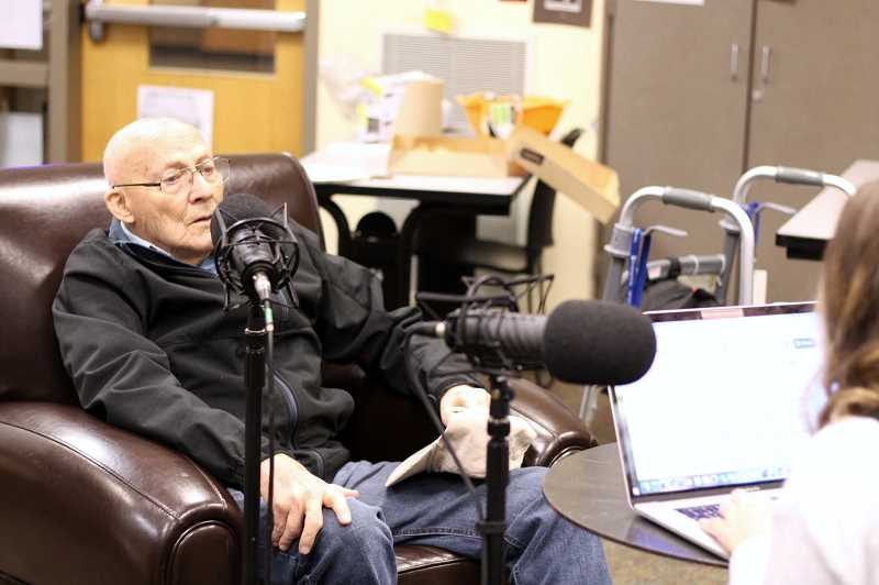 PMG PHOTOS: CLAIRE GREEN - Jim Britsch shared his story with the help of his daughter and Wilsonville High senior Alyson Johnston via the StoryCorps program.