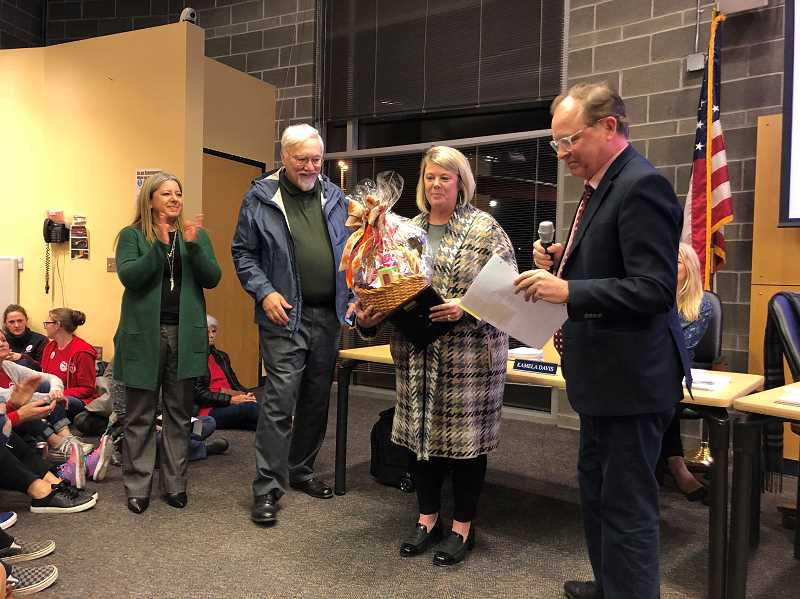COURTESY PHOTO: CSD - Jennifer Dennis receives the November CARE Award. She is a data specialist for the Canby School District.
