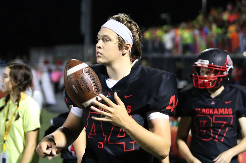 PMG PHOTO: JIM BESEDA - Clackamas long snapper Grayson Pibal played an average of 8-10 times a game during his three seasons with the Cavaliers' varsity team, snapping the ball on field goals, extra points, and punts.
